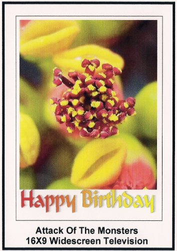 Attack of the Monsters: 16x9 Widescreen TV.: Greeting Card: Happy Birthday
