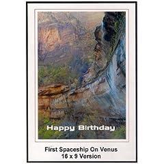 First Soaceship On Venus: Widescreen TV: Greeting Card: Happy Birthday