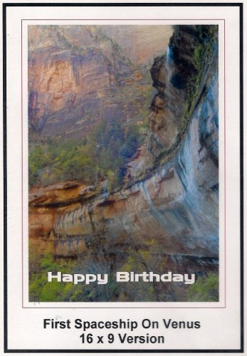 First Soaceship On Venus: Widescreen TV: Greeting Card: Happy Birthday