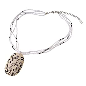 Ceramic Pendant Necklace with Floral design: Jewelry & Watches from amazon.com