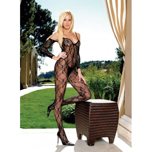 Queen Sleeved Floral Lace Bodystocking