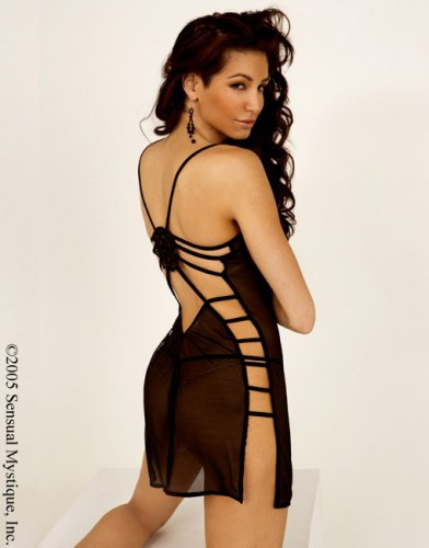 Stretch spandex mesh chemise with strappy open back adorned with floral applique. Comes with adjustable straps and matching g-string