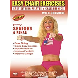 Senior / Elderly Easy Sitting PILATES Exercise DVD. Seniors / Elderly Easy Sitting PILATES Non Aerobic Non Impact Strength , Rehab & Physical Therapy Exercises DVD .