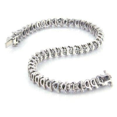 Sterling Silver 1.00 Carat Diamond Tennis Bracelet - 7.2\