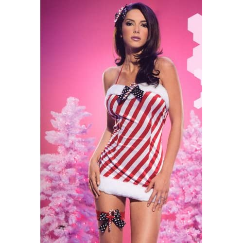 Candy Cane Santa\'s Dress W/Polka Dots Bow - 83270