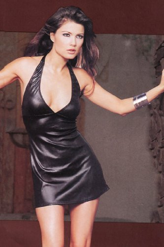 Sexy Halter Mini Dress Black Wet Look Plunging V Neck Club Wear