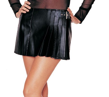 Faux Leather Wrap Skirt with Buckle