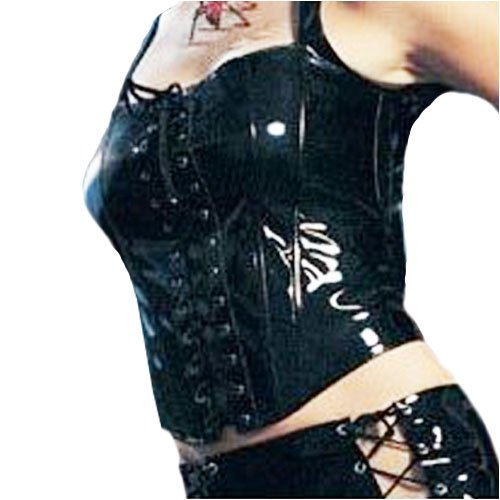 Lace Up Front Vinyl Bustier with Zipper Back