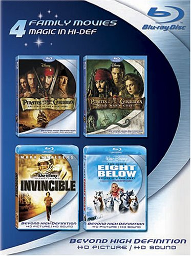 Blu-ray 4-Pack: Family Movies (Pirates of the Caribbean: Curse of the Black Pearl / Pirates of the Caribbean: Dead Man's Chest / Invincible / Eight Below) [Blu-ray]