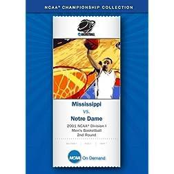 2001 NCAA Division I Men's Basketball 2nd Round - Mississippi vs. Notre Dame