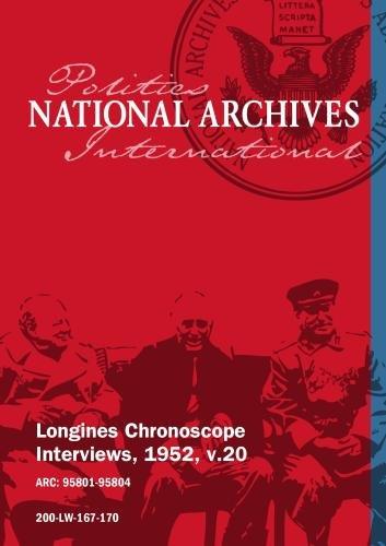 Longines Chronoscope Interviews, 1952, v.20: GEORGE A. SLOAN, SEN. HERBERT O'CONOR