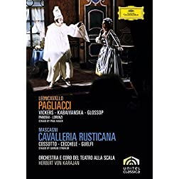 Leoncavallo's Pagliacci & Mascagni's Cavalleria rusticana / Vickers, Kabaivanksa, Glossop, Cossotto, Checchele, Guelfi, von Karajan (Teatro alla Scala)