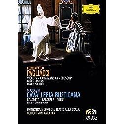 Leoncavallo's Pagliacci & Mascagni's Cavalleria rusticana / Vickers, Kabaivanksa, Glossop, Cossotto, Checchele, Guelfi, von Karajan (Teatro alla Scala)