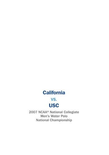 2007 Men's National Collegiate Water Polo National Championship - California vs. USC