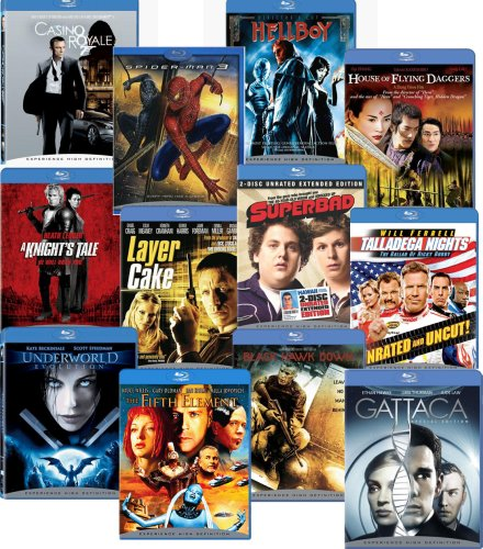 Blu-ray 12-pack (Black Hawk Down / Casino Royale / The Fifth Element / Gattaca / Hellboy / House of Flying Daggers / A Knight's Tale / Layer Cake / Spider-man ... / Talladega Nights / Underworld Evolution) [Blu-ray]