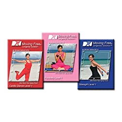 Moving Free Longevity Solution Level 1 Three Pack by Mirabai Holland, Cardio Dance, Strength and Flexibility For Beginners, Baby Boomers, 50 plus, and ... for Weight Loss, and Total Body Conditioning