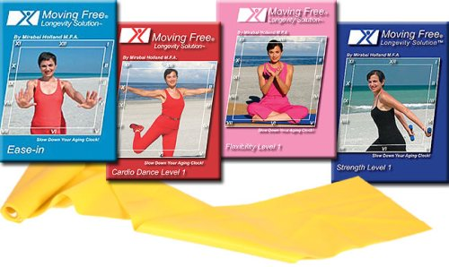 Mirabai Holland's Get Off The Couch Moving Free Longevity Solution 4 Pack INCLUDING 4 ft Resistance Band For Beginners, Boomers, 50 plus Women, and Active ... Increase Stamina, Get Flexible & Body Sculpt