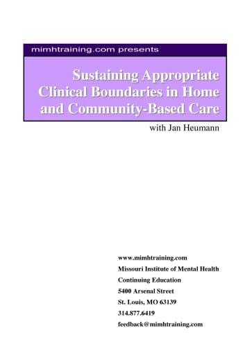 Sustaining Appropriate Clinical Boundaries in Home and Community-Based Care