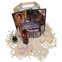 The For Her Massage Gift Basket: Sensual Woman's Massage DVD / Sports Massage for Women , Oil, Relaxation Music, Candles, Incense (2 DVD/1 Oil/1 CD)