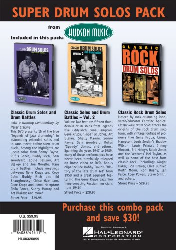 Super Classic Drum Pack 3-DVD Set - Classic Drum Solos & Battles 1 & 2 Plus Classic Rock Solo's