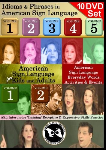 American Sign Language 10-DVD Collection - Kids Series, Idioms Sets, ASL Interpreting Training Sets