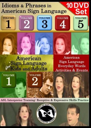 American Sign Language 10-DVD Collection - Kids Series, Idioms Sets, ASL Interpreting Training Sets