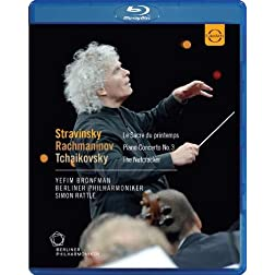 Nutcracker; Le Sacre du Printemps; Piano Concerto No. 3: Rattle conducts Tchaikovsky, Stravinsky & Rachmaninov [Blu-ray]
