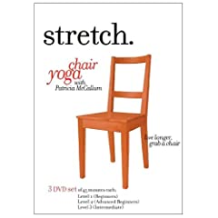 STRETCH.chairyoga with Patricia McCallum (3 DVD Set) including the LEVELS 1, 2 and 3 programs of gentle sitting & standing exercises for the ageless 'over 50s', seniors & elderly that include low impact stretching, strengthening & breathing routines to improve energy, posture, balance & flexibility.