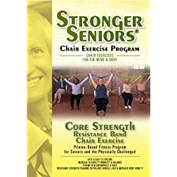 Stronger Seniors Core Strength DVD-Resistance Band Exercise Program developed by Anne Burnell, Stott Pilates Instructor Trainer and Faculty Presenter for the National Council on Aging (NCOA). Resistance Band included