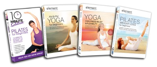 Pilates/Yoga Starter Kit (10 Minute Solution: Pilates For Beginners, Element AM & PM Yoga For Beginners, Element Yoga for Stress Relief & Flexibility, Element Pilates For Weight Loss)