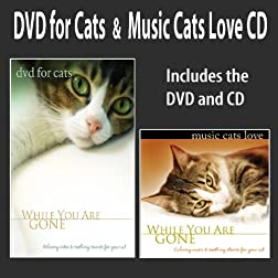 DVD For Cats + Music Cats Love CD: DVD/CD SET (While You Are Gone) Cat Music Cat DVD