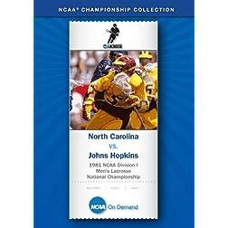 1981 NCAA Division I Men's Lacrosse National Championship - North Carolina vs. Johns Hopkins