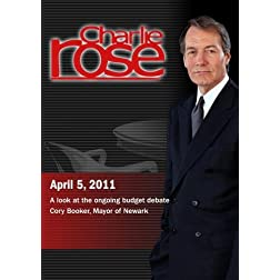 Charlie Rose - A look at the ongoing budget debate / Cory Booker (April 5, 2011)